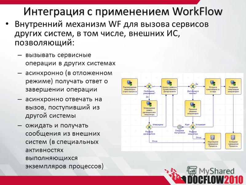 Интеграция с применением WorkFlow – вызывать сервисные операции в других системах – асинхронно (в отложенном режиме) получать ответ о завершении операции – асинхронно отвечать на вызов, поступивший из другой системы – ожидать и получать сообщения из