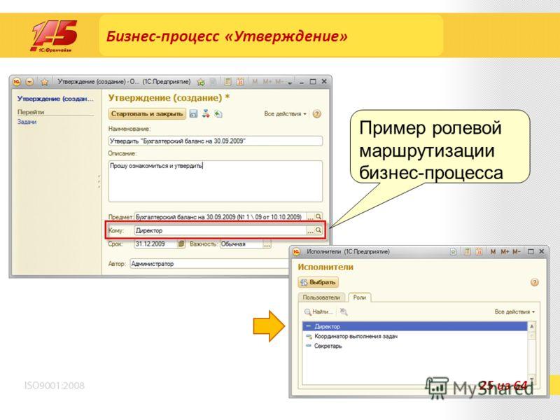 Бизнес-процесс «Утверждение» Пример ролевой маршрутизации бизнес-процесса 25 из 64