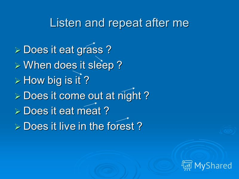 Listen and repeat after me Does it eat grass ? Does it eat grass ? When does it sleep ? When does it sleep ? How big is it ? How big is it ? Does it come out at night ? Does it come out at night ? Does it eat meat ? Does it eat meat ? Does it live in
