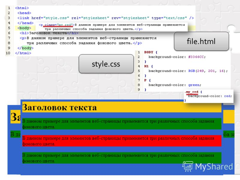 file.html style.css