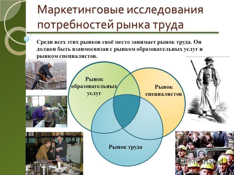 Маркетинговые исследования потребностей рынка труда Рынок труда Рынок образовательных услуг Рынок специалистов Среди всех этих рынков своё место занимает рынок труда. Он должен быть взаимосвязан с рынком образовательных услуг и рынком специалистов.