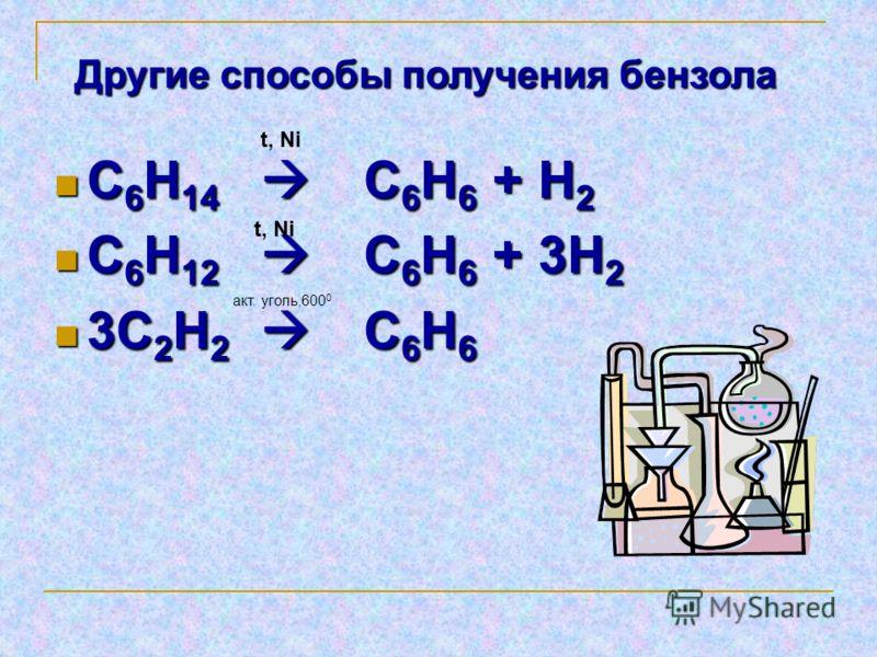 С 6 Н 14 С 6 Н 6 + Н 2 С 6 Н 14 С 6 Н 6 + Н 2 С 6 Н 12 С 6 Н 6 + 3Н 2 С 6 Н 12 С 6 Н 6 + 3Н 2 3С 2 Н 2 С 6 Н 6 3С 2 Н 2 С 6 Н 6 t, Ni акт. уголь,600 0 Другие способы получения бензола