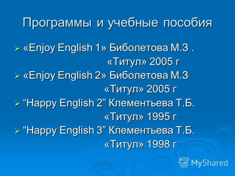 Программы и учебные пособия «Enjoy English 1» Биболетова М.З. «Enjoy English 1» Биболетова М.З. «Титул» 2005 г «Титул» 2005 г «Enjoy English 2» Биболетова М.З «Enjoy English 2» Биболетова М.З «Титул» 2005 г «Титул» 2005 г Happy English 2 Клементьева