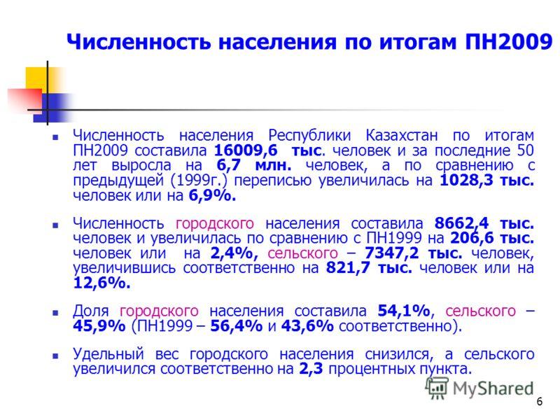 6 Численность населения Республики Казахстан по итогам ПН2009 составила 16009,6 тыс. человек и за последние 50 лет выросла на 6,7 млн. человек, а по сравнению с предыдущей (1999г.) переписью увеличилась на 1028,3 тыс. человек или на 6,9%. Численность