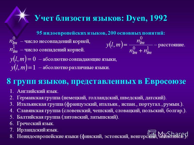 Учет близости языков: Dyen, 1992 95 индоевропейских языков, 200 основных понятий: – число несовпадений корней, – число совпадений корней. – расстояние. – абсолютно совпадающие языки, – абсолютно различные языки. 8 групп языков, представленных в Еврос