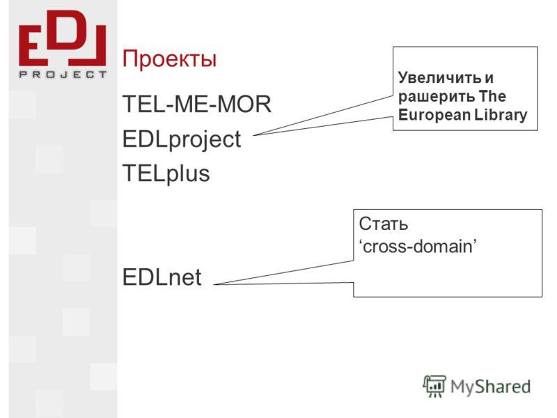 Проекты TEL-ME-MOR EDLproject TELplus EDLnet Увеличить и рашерить The European Library Стать cross-domain