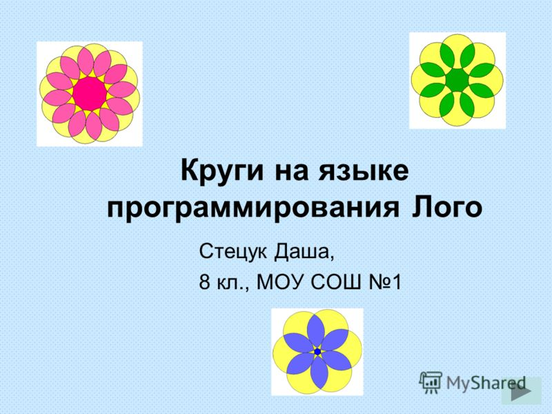 Круги на языке программирования Лого Стецук Даша, 8 кл., МОУ СОШ 1