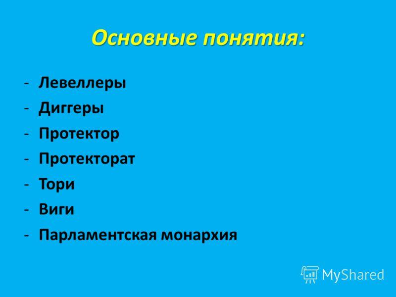 Основные понятия: -Левеллеры -Диггеры -Протектор -Протекторат -Тори -Виги -Парламентская монархия
