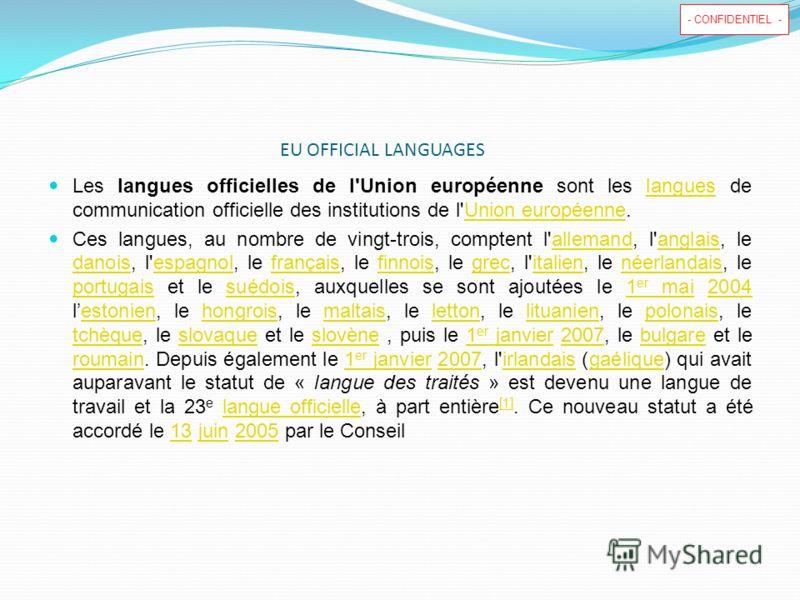- CONFIDENTIEL - EU OFFICIAL LANGUAGES Les langues officielles de l'Union européenne sont les langues de communication officielle des institutions de l'Union européenne.languesUnion européenne Ces langues, au nombre de vingt-trois, comptent l'alleman