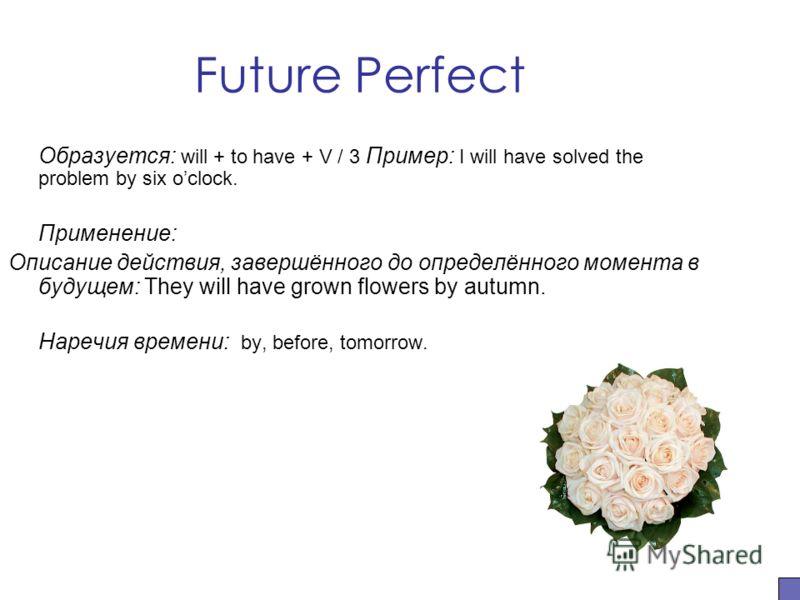 Future Perfect Образуется: will + to have + V / 3 Пример: I will have solved the problem by six oclock. Применение: Описание действия, завершённого до определённого момента в будущем: They will have grown flowers by autumn. Наречия времени: by, befor