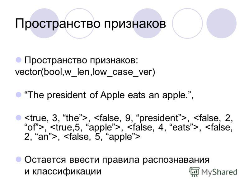 Пространство признаков Пространство признаков: vector(bool,w_len,low_case_ver) The president of Apple eats an apple.,,,,,,, Остается ввести правила распознавания и классификации