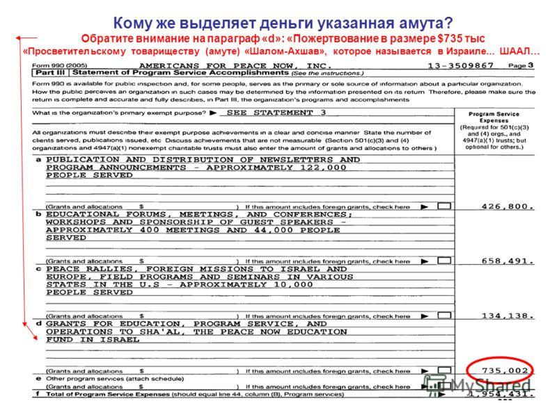 Кому же выделяет деньги указанная амута? Обратите внимание на параграф «d»: «Пожертвование в размере $735 тыс «Просветительскому товариществу (амуте) «Шалом-Ахшав», которое называется в Израиле... ШААЛ…