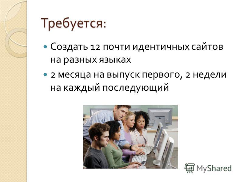 Требуется : Создать 12 почти идентичных сайтов на разных языках 2 месяца на выпуск первого, 2 недели на каждый последующий