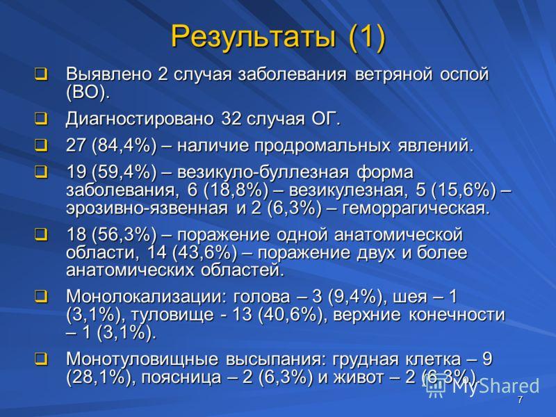 7 Результаты (1) Выявлено 2 случая заболевания ветряной оспой (ВО). Выявлено 2 случая заболевания ветряной оспой (ВО). Диагностировано 32 случая ОГ. Диагностировано 32 случая ОГ. 27 (84,4%) – наличие продромальных явлений. 27 (84,4%) – наличие продро