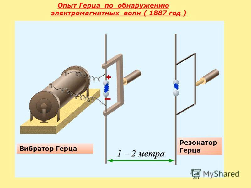 Опыт Герца по обнаружению электромагнитных волн ( 1887 год ) Вибратор Герца Резонатор Герца
