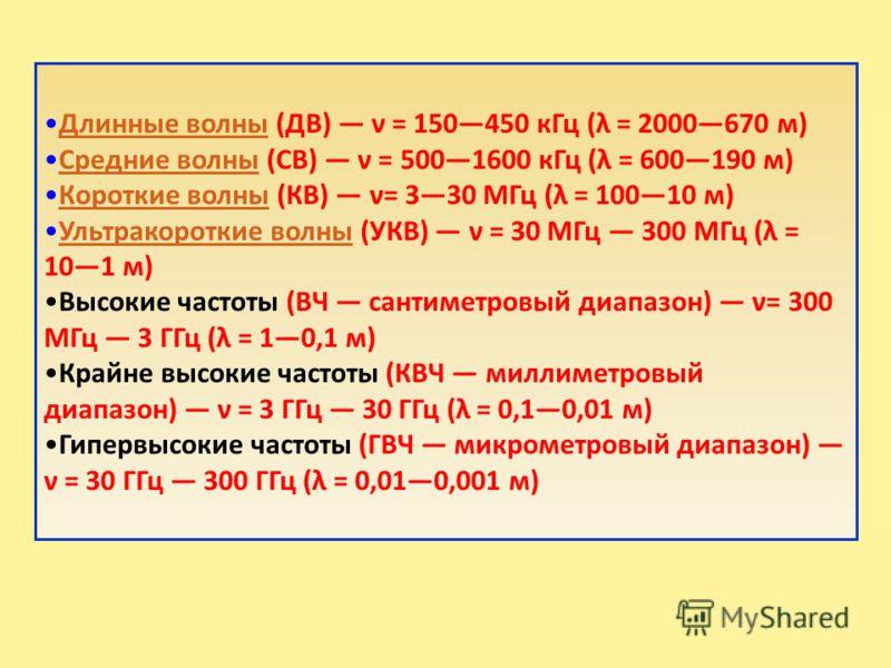 Длинные волны (ДВ) ν = 150450 кГц (λ = 2000670 м)Длинные волны Средние волны (СВ) ν = 5001600 кГц (λ = 600190 м)Средние волны Короткие волны (КВ) ν= 330 МГц (λ = 10010 м)Короткие волны Ультракороткие волны (УКВ) ν = 30 МГц 300 МГц (λ = 101 м)Ультрако