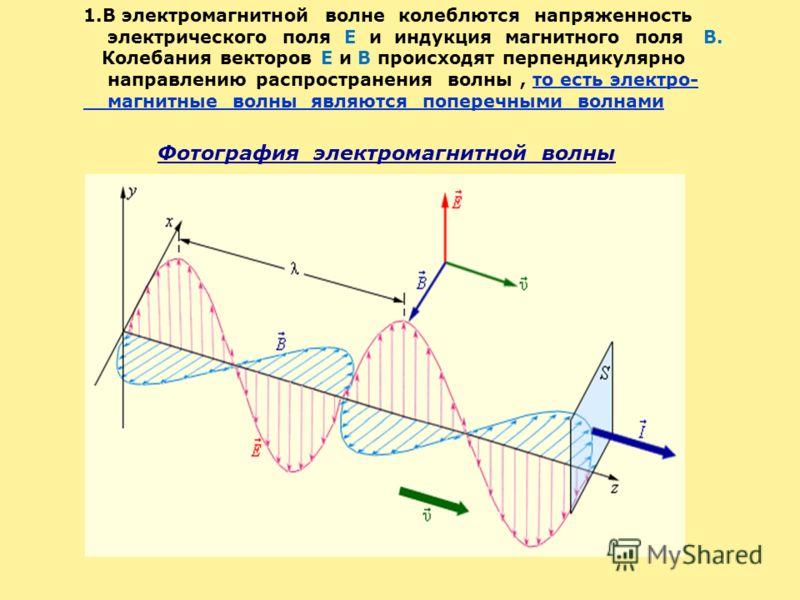 Фотография электромагнитной волны 1.В электромагнитной волне колеблются напряженность электрического поля E и индукция магнитного поля B. Колебания векторов E и B происходят перпендикулярно направлению распространения волны, то есть электро- магнитны