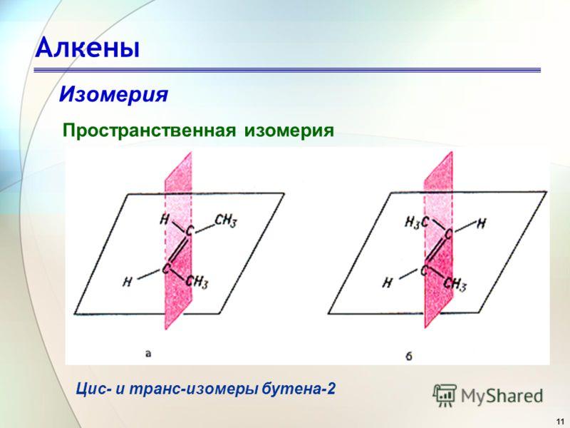 11 Алкены Изомерия Пространственная изомерия Цис- и транс-изомеры бутена-2