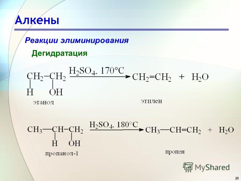 28 Алкены Реакции элиминирования Дегидратация
