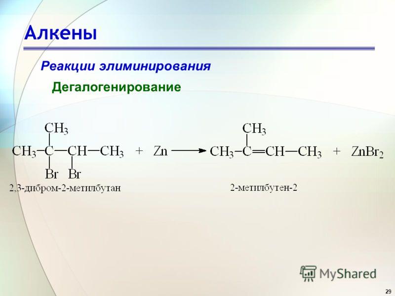 29 Алкены Реакции элиминирования Дегалогенирование