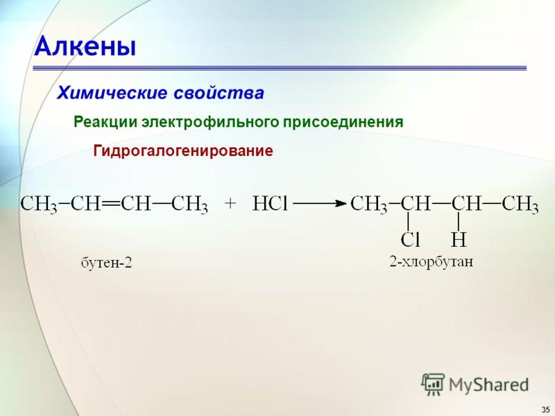 35 Алкены Химические свойства Реакции электрофильного присоединения Гидрогалогенирование