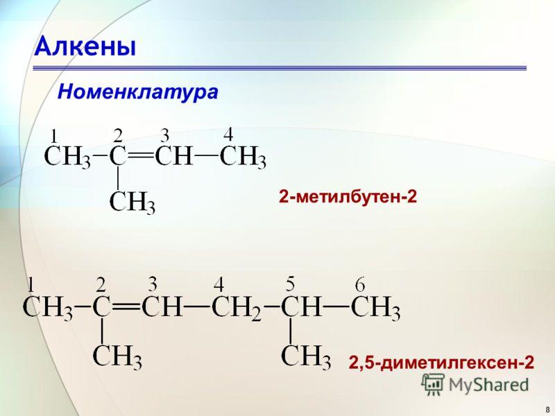 8 Алкены Номенклатура 2-метилбутен-2 2,5-диметилгексен-2