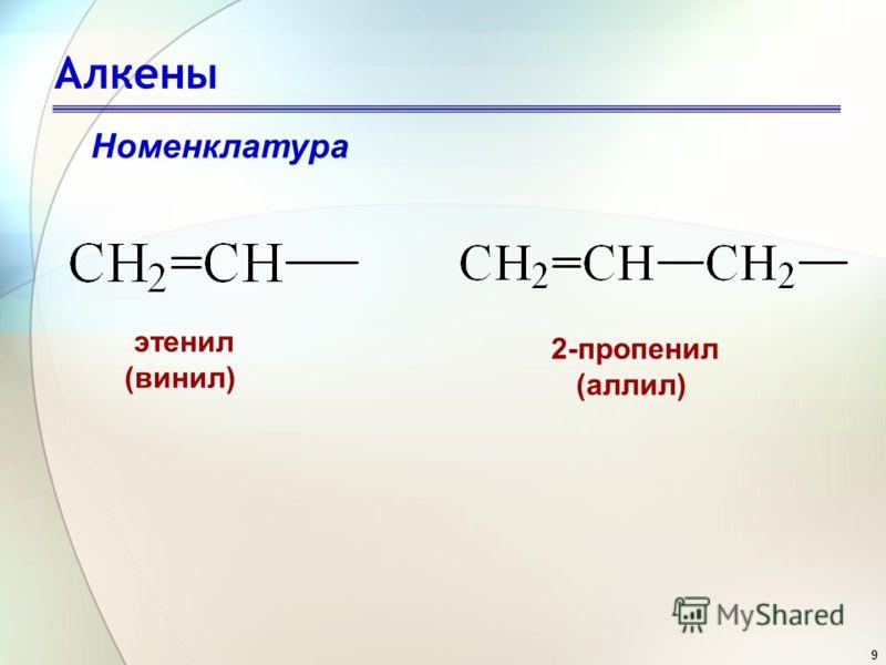 9 Алкены Номенклатура этенил (винил) 2-пропенил (аллил)