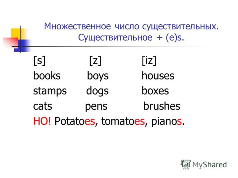 Множественное число существительных. Существительное + (e)s. [s] [z] [iz] books boys houses stamps dogs boxes cats pens brushes НО! Potatoes, tomatoes, pianos.