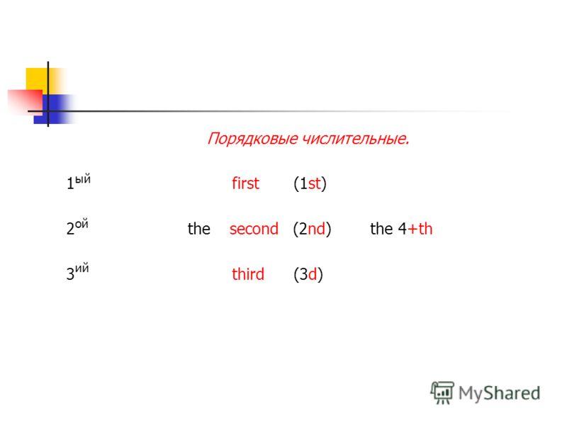 Порядковые числительные. 1 first (1st) 2 the second (2nd) the 4+th 3 third (3d) ый ой ий
