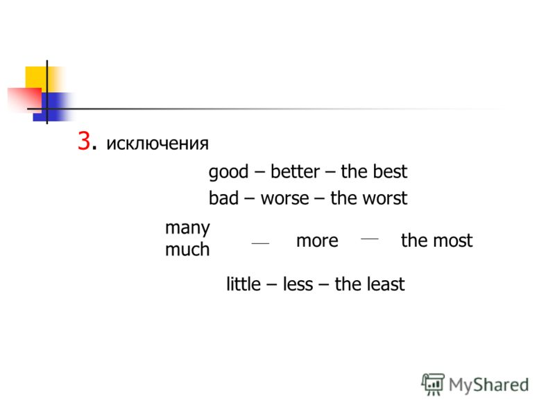3. исключения good – better – the best bad – worse – the worst many much morethe most little – less – the least
