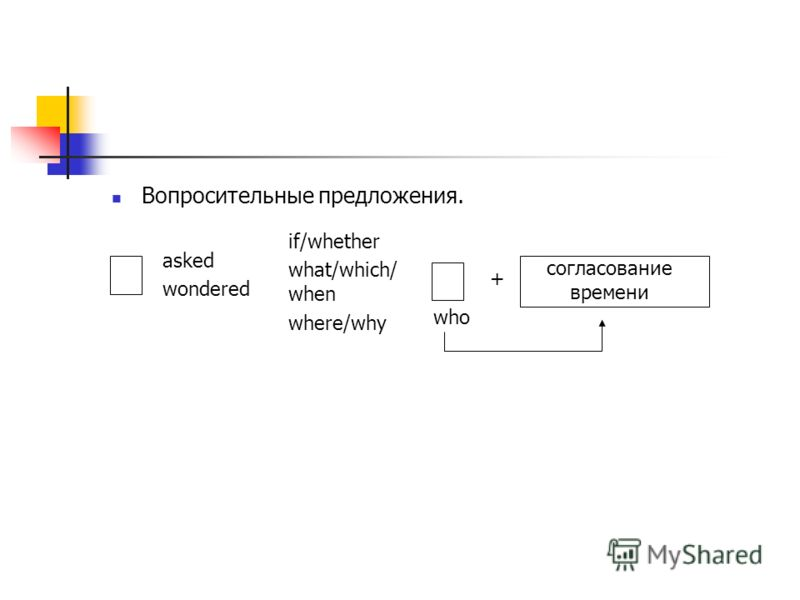 Вопросительные предложения. asked wondered if/whether what/which/ when where/why + согласование времени who