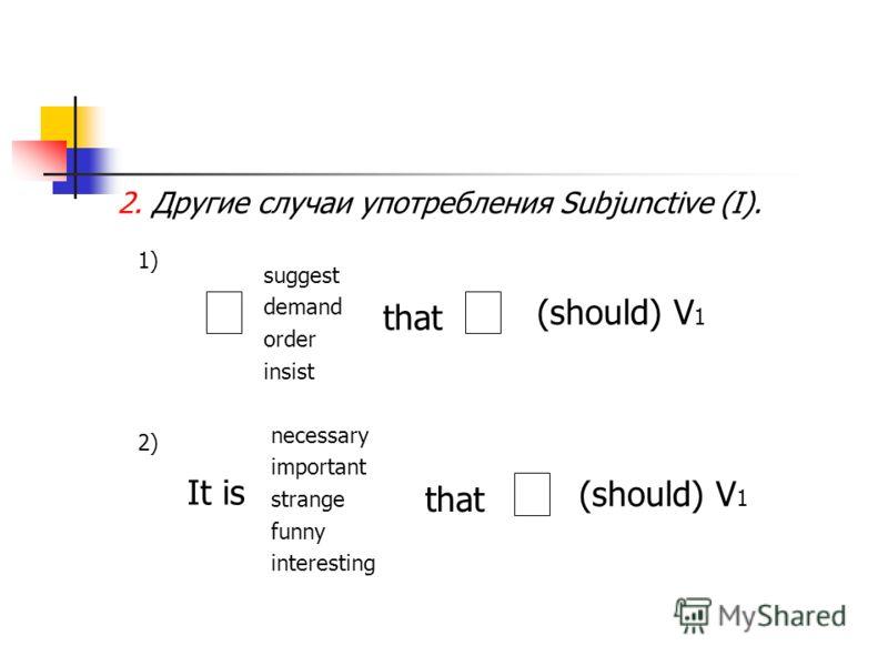 2. Другие случаи употребления Subjunctive (I). 1) suggest demand order insist that (should) V 1 2) It is necessary important strange funny interesting that (should) V 1
