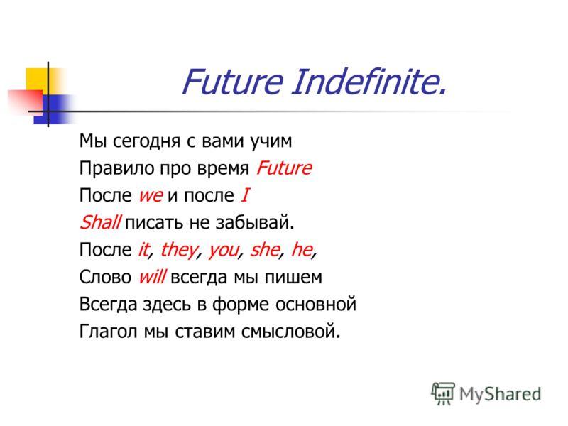 Future Indefinite. Мы сегодня с вами учим Правило про время Future После we и после I Shall писать не забывай. После it, they, you, she, he, Слово will всегда мы пишем Всегда здесь в форме основной Глагол мы ставим смысловой.