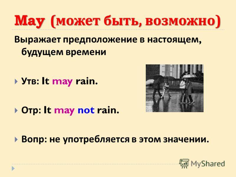 May ( может быть, возможно ) Выражает предположение в настоящем, будущем времени Утв : It may rain. Отр : It may not rain. Вопр : не употребляется в этом значении.