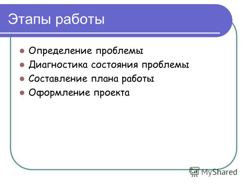 Этапы работы Определение проблемы Диагностика состояния проблемы Составление плана работы Оформление проекта
