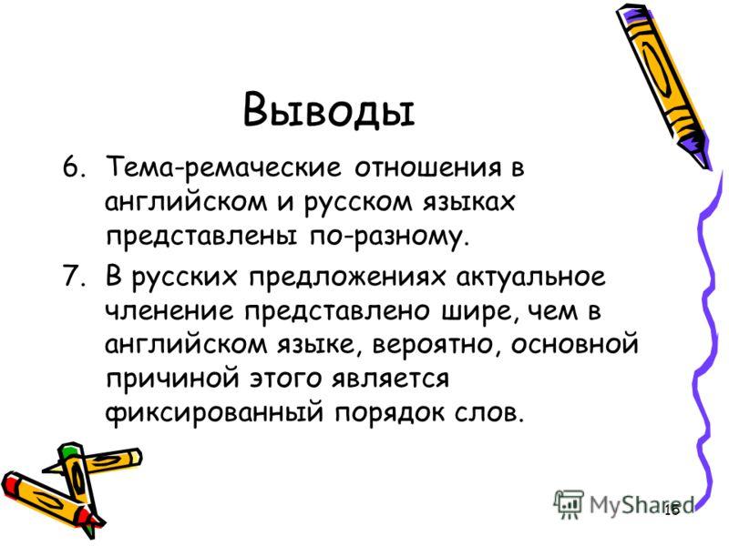 15 Выводы 6.Тема-ремаческие отношения в английском и русском языках представлены по-разному. 7.В русских предложениях актуальное членение представлено шире, чем в английском языке, вероятно, основной причиной этого является фиксированный порядок слов