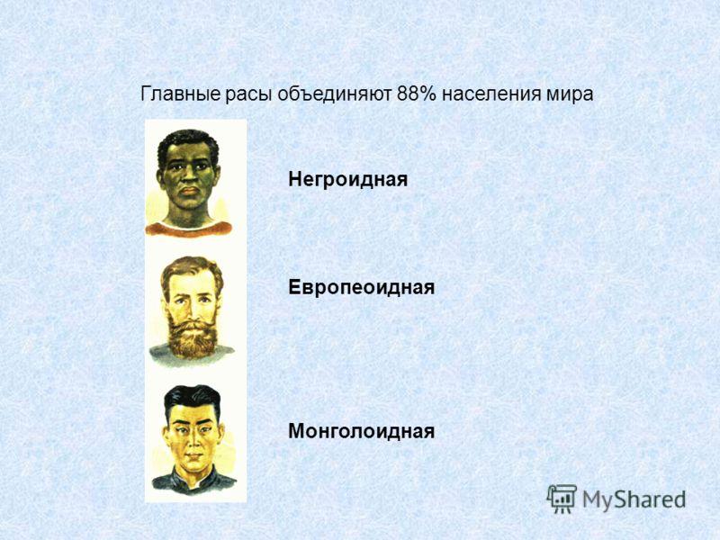 Главные расы объединяют 88% населения мира Негроидная Европеоидная Монголоидная
