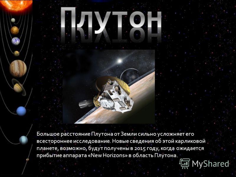 Большое расстояние Плутона от Земли сильно усложняет его всестороннее исследование. Новые сведения об этой карликовой планете, возможно, будут получены в 2015 году, когда ожидается прибытие аппарата «New Horizons» в область Плутона.