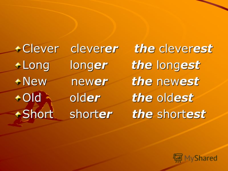 Clever cleverer the cleverest Long longer the longest New newer the newest Old older the oldest Short shorter the shortest