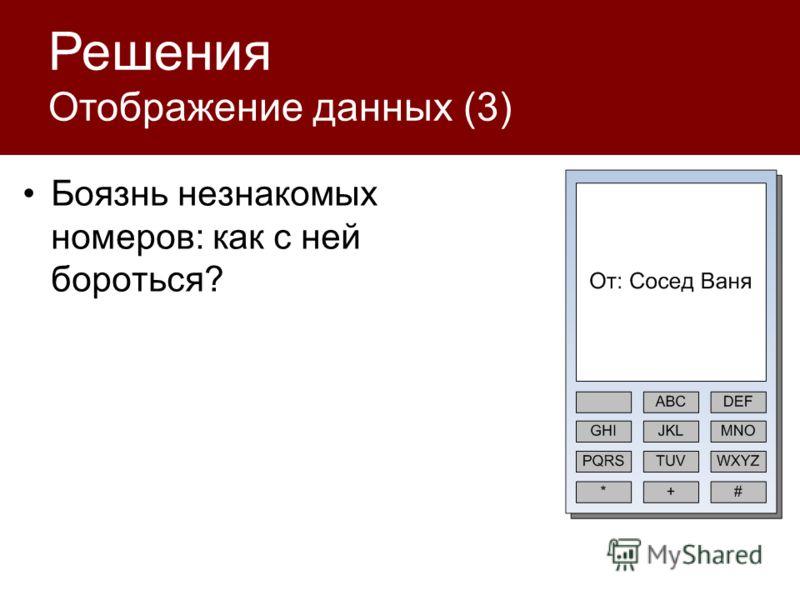 Решения Отображение данных (3) Боязнь незнакомых номеров: как с ней бороться?