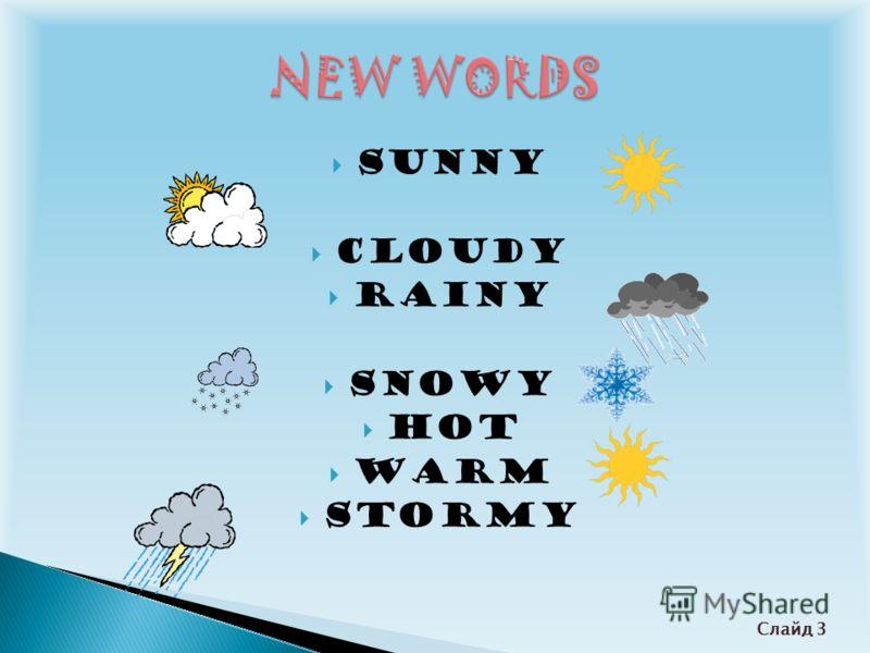 Sunny Cloudy Rainy Snowy Hot Warm Stormy Слайд 3