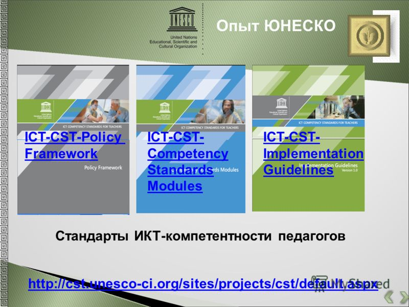 Опыт ЮНЕСКО http://cst.unesco-ci.org/sites/projects/cst/default.aspx ICT-CST-Policy Framework ICT-CST- Competency Standards Modules ICT-CST- Implementation Guidelines Стандарты ИКТ-компетентности педагогов