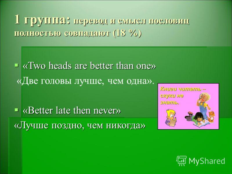 1 группа: перевод и смысл пословиц полностью совпадают (18 %) «Two heads are better than one» «Two heads are better than one» «Две головы лучше, чем одна». «Better late then never» «Better late then never» «Лучше поздно, чем никогда»