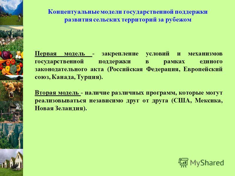 Концептуальные модели государственной поддержки развития сельских территорий за рубежом Первая модель - закрепление условий и механизмов государственной поддержки в рамках единого законодательного акта (Российская Федерация, Европейский союз, Канада,