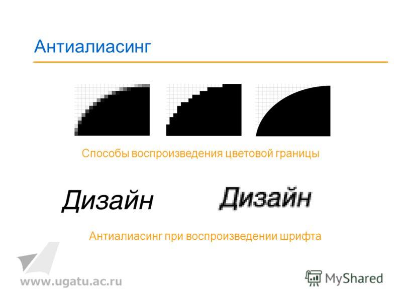 Антиалиасинг Способы воспроизведения цветовой границы Антиалиасинг при воспроизведении шрифта