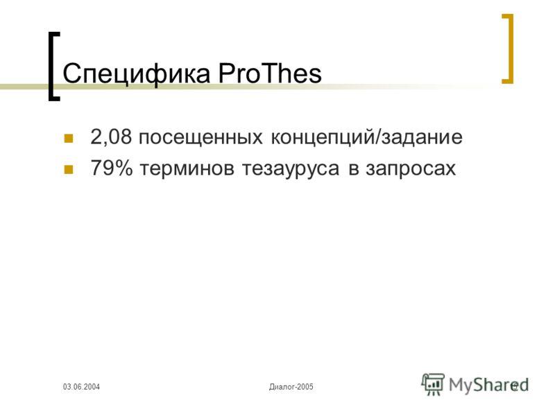 03.06.2004Диалог-200515 Специфика ProThes 2,08 посещенных концепций/задание 79% терминов тезауруса в запросах