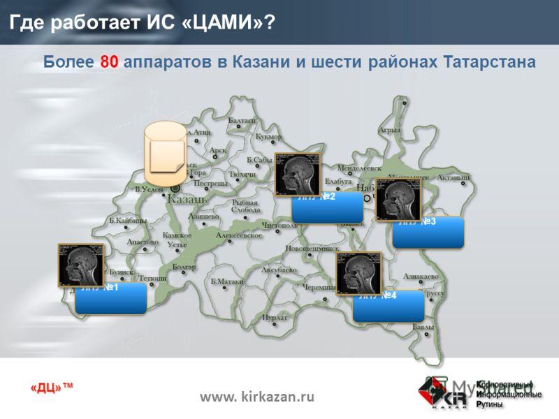 «ДЦ» www. kirkazan.ru Где работает ИС «ЦАМИ»? Более 80 аппаратов в Казани и шести районах Татарстана ЦАМИ ЛПУ 1 ЛПУ 2 ЛПУ 3 ЛПУ 4