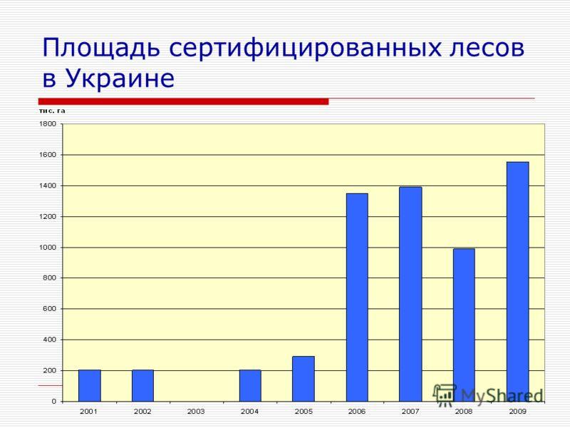 Площадь сертифицированных лесов в Украине