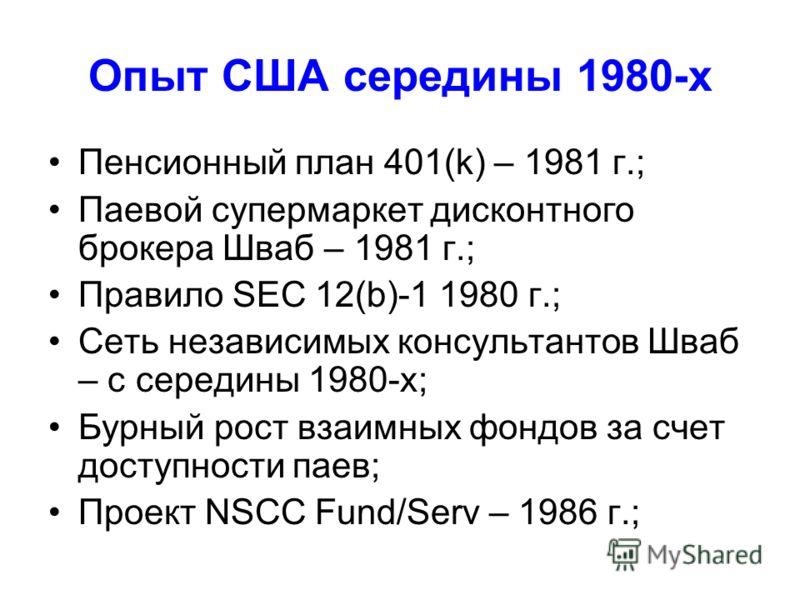 Опыт США середины 1980-х Пенсионный план 401(k) – 1981 г.; Паевой супермаркет дисконтного брокера Шваб – 1981 г.; Правило SEC 12(b)-1 1980 г.; Сеть независимых консультантов Шваб – с середины 1980-х; Бурный рост взаимных фондов за счет доступности па