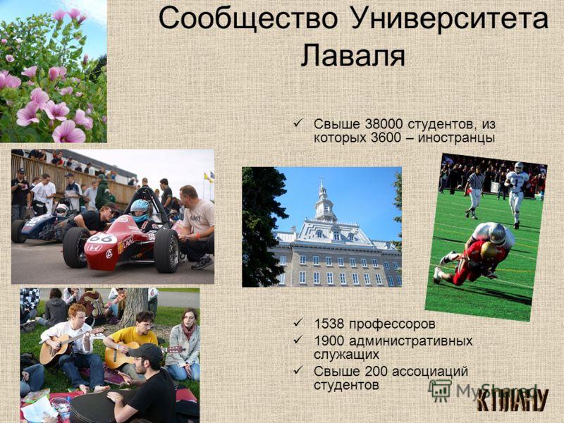 Сообщество Университета Лаваля Свыше 38000 студентов, из которых 3600 – иностранцы 1538 профессоров 1900 административных служащих Свыше 200 ассоциаций студентов